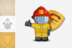 向量手拉的例证 防护套服的被隔绝的字符消防队员站立并且举他的手指  在蓝色的烟 免版税库存照片