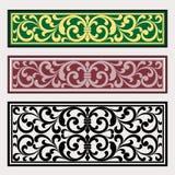Διανυσματική εκλεκτής ποιότητας χάραξη λογότυπων πλαισίων συνόρων με το αναδρομικό σχέδιο διακοσμήσεων στο παλαιό στυλ ροκοκό δια Στοκ Εικόνες
