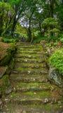 从在一座山的石头做的台阶在长崎,日本 免版税图库摄影