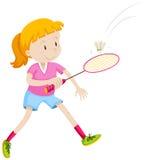 有羽毛球拍和小鸟的女孩 免版税库存图片