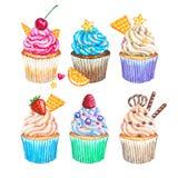水彩杯形蛋糕汇集 被设置的水彩杯形蛋糕 库存图片