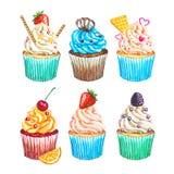 水彩杯形蛋糕汇集 被设置的水彩杯形蛋糕 免版税库存图片