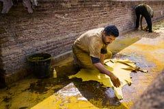 在一个皮革厂供以人员工作在市菲斯在摩洛哥 免版税库存图片