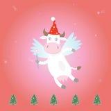 圣诞节母牛神仙魔术 免版税库存照片