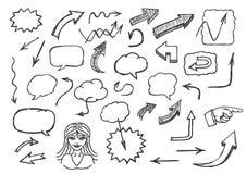 Стрелки и пузыри речи нарисованные рукой Стоковая Фотография RF