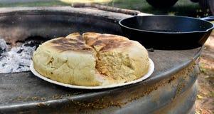 被烘烤的薄饼面包 免版税库存图片