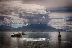 三文鱼的渔船围网 飞机场 库存照片