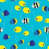 与动画片珊瑚礁生动的鱼的五颜六色的无缝的样式在蓝色背景 水下的生活墙纸 库存图片