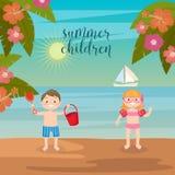 Διακοπές θάλασσας παιδιών Κορίτσια και αγόρια που παίζουν στην παραλία Στοκ φωτογραφία με δικαίωμα ελεύθερης χρήσης