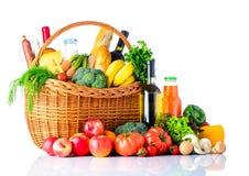 Υγιείς αγορές τροφίμων που απομονώνονται στο λευκό Στοκ εικόνα με δικαίωμα ελεύθερης χρήσης