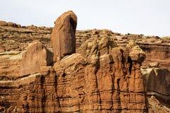 在日落的岩层在拱门国家公园默阿布犹他 库存照片