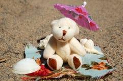 在海滩的玩具熊 库存图片