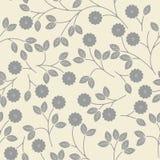与装饰灰色花和叶子的无缝的样式在艾弗 免版税库存图片