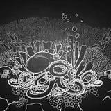 图表章鱼和珊瑚礁 免版税库存照片