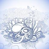 图表章鱼和珊瑚礁 库存照片