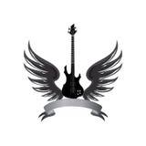 Σύμβολο μουσικής ροκ Ηλεκτρική κιθάρα με τα φτερά και κορδέλλα τόξων για Στοκ Φωτογραφίες