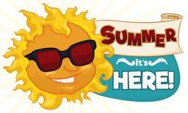 与太阳、纸卷和标志,传染媒介例证的凉快的夏天横幅 免版税图库摄影