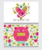 两张贺卡为情人节,逗人喜爱的手拉的花卉设计 免版税库存图片