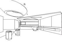 房子概述略图内部透视  库存图片