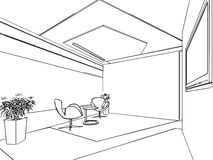 房子概述略图内部透视  免版税库存照片