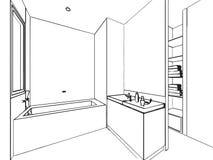 房子概述略图内部透视  免版税库存图片