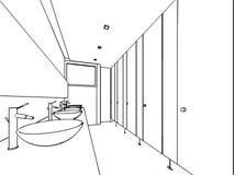 房子概述略图内部透视  免版税图库摄影