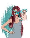 读有剪刀的长的头发女孩 免版税库存照片