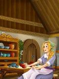 动画片场面在老传统厨房-年轻肮脏的女孩-烹调或安置帮助在它 库存照片