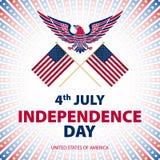 Εύκολος να εκδώσει τη διανυσματική απεικόνιση του αετού με τη αμερικανική σημαία για τη ημέρα της ανεξαρτησίας Στοκ Εικόνες