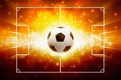 Αθλητικό υπόβαθρο - καίγοντας σφαίρα ποδοσφαίρου Στοκ Φωτογραφίες