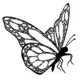 Πεταλούδα, μονοχρωματικό, χρωματίζοντας βιβλίο Στοκ Εικόνες