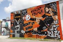 五颜六色的街道画艺术品在休斯敦,得克萨斯 免版税库存照片