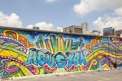 五颜六色的街道画艺术品在休斯敦,得克萨斯 免版税图库摄影
