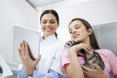 Девушка доктора Используя Цифров Таблетки Пока держа ласку Стоковые Изображения RF
