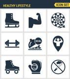 象设置了健康生活方式象集合汇集健身房路辗棒球健身体育的优质质量 现代图表收藏 免版税库存照片