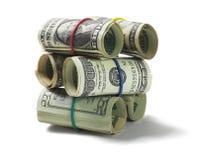 Стог свернутый вверх по счетам доллара США Стоковое Изображение
