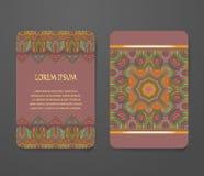 Красочный орнаментальный этнический комплект буклета Стоковая Фотография