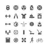 健身,体育,健身房传染媒介被设置的黑色象 免版税库存图片