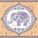 Винтажный индийский слон с племенными орнаментами Приветствие мандалы Стоковые Изображения