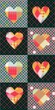与五颜六色的心脏的无缝的补缀品样式 库存图片