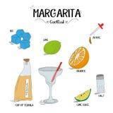 如何做玛格丽塔鸡尾酒设置了与餐馆和酒吧企业传染媒介例证的成份 库存照片