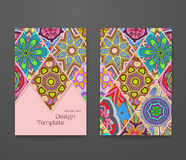 Красочный орнаментальный этнический комплект буклета Стоковое Фото