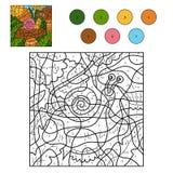 Χρώμα από τον αριθμό για τα παιδιά με ένα σαλιγκάρι Στοκ εικόνα με δικαίωμα ελεύθερης χρήσης