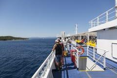 在亚得里亚海的渡轮 库存图片