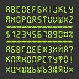 数字式被带领的字体字母表信件和数字 免版税图库摄影