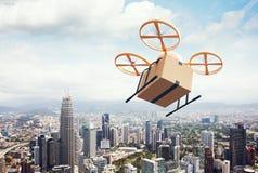 Трутень воздуха дистанционного управления желтого родового дизайна изображения современный летая пустая коробка ремесла под город Стоковое Изображение RF
