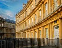 皇家新月,英王乔治一世至三世时期建筑学,巴恩,英国 免版税库存图片