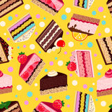 被设置的甜点被烘烤的传染媒介蛋糕的无缝的样式 库存图片