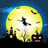 与剪影干燥树的万圣夜夜,老巫婆、城堡、南瓜和棒导航例证背景 免版税库存图片