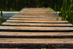Ξύλινη μικροσκοπική γέφυρα πέρα από το έλος Στοκ φωτογραφία με δικαίωμα ελεύθερης χρήσης